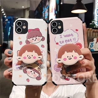 Cartoon Cute Tea Milk Girl Skin-Friendly Silk Pattern Holder Soft Phone Case Cover for iPhone 11 Pro Max X XS XR XSMax 8 7 6 6s Plus SE 2020