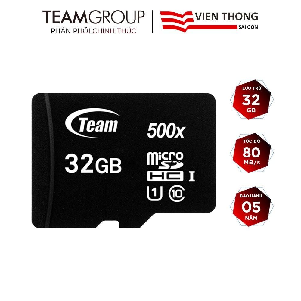 Thẻ nhớ microSDHC Team Group 32GB upto 80MB/s 500x class 10 U1 (Đen) - Hãng phân phối chính thức
