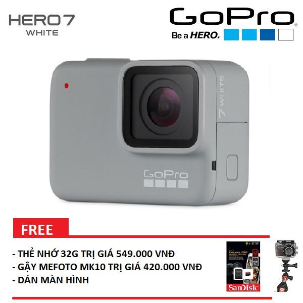Máy quay GoPro HERO 7, White - Bảo hành 1 đổi 1 (FPT phân phối) - Tặng gậy mefoto MK10, thẻ nhớ 32G,dán màn hình