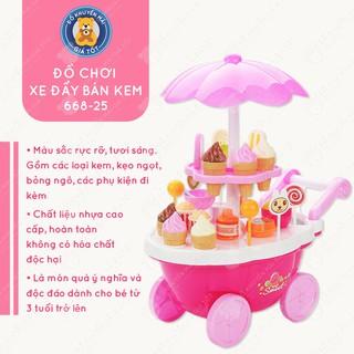 Đồ chơi xe đẩy cửa hàng kem kẹo 39 chi tiết có nhạc và có đèn cho bé - 668-25 - Đồ khuyến mãi giá tốt