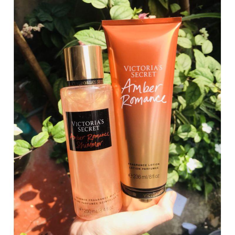 [ NEW ] Xịt thơm toàn thân Victoria's Secret mùi Amber Romance Combo nhũ và không nhũ