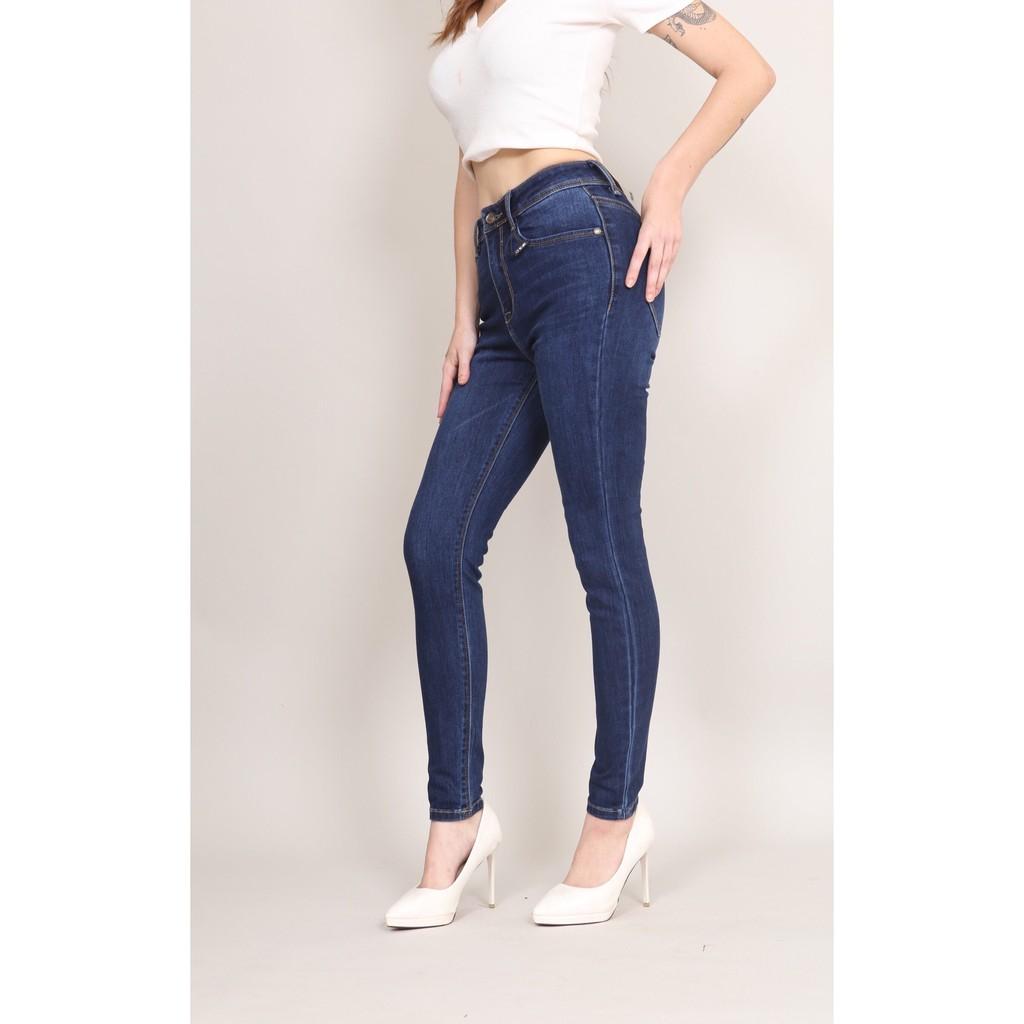 Quần Jean Nữ Skinny Cạp Cao co dãn Basic CT Jeans,Quần jean nữ skinny lưng cao trơn CT Jeans