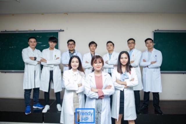 Áo Blouse trắng nữ dài tay - áo blouse bác sĩ, dược sĩ, phòng thí nghiệm