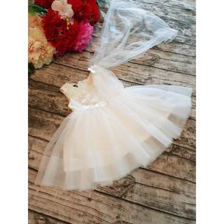 (TẶNG CỘT TÓC) Váy cô dâu cho bé, váy công chúa thiết kế cao cấp-Váy cô dâu
