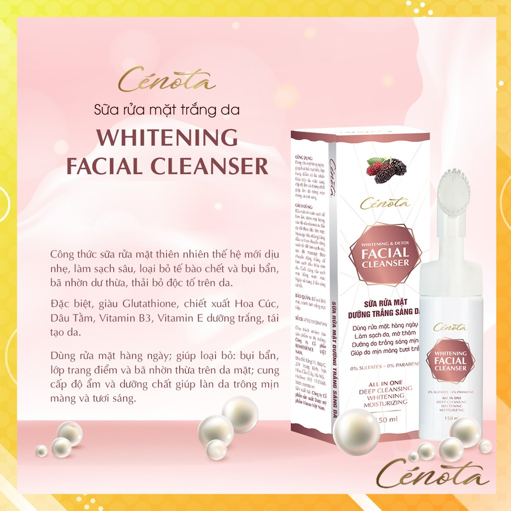 Sữa rửa mặt trắng da Cénota Whitening Facial Cleanser 150ml, sữa rửa mặt trắng da dưỡng trắng - mã C03 Kagawa