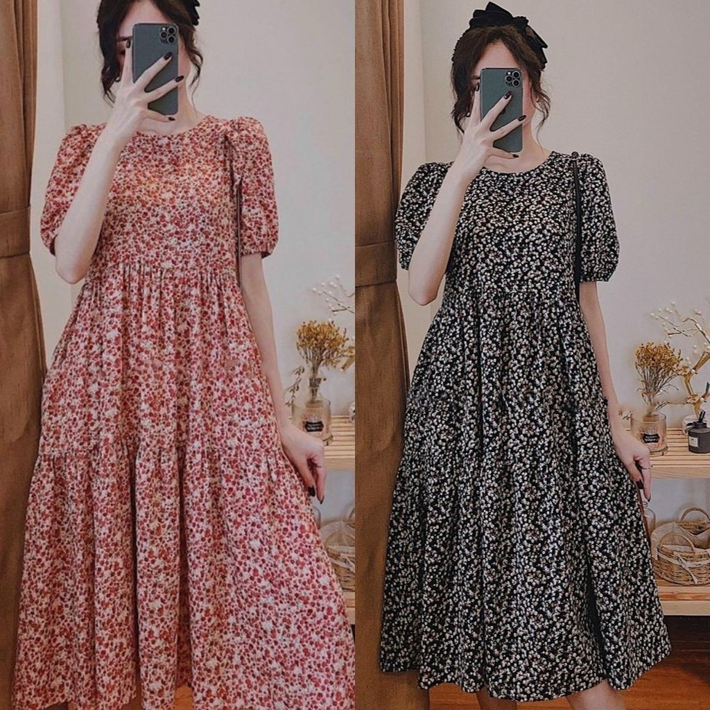 Mặc gì đẹp: Dễ chịu với Váy bầu thời trang thiết kế hoa nhí chất Lụa Hoa freesize từ 45 đến 70kg