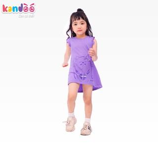 Áo T-shirt bé gái KANDOO màu tím hoa giấy, thoải mái hoạt động, 100% cotton cao cấp mềm mịn, thoáng mát-DG16TS03
