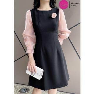 Váy Công Sở, Đầm Dự Tiệc ,Kiểu Dáng A Cài Hoa Phối Tay Voan Lụa Evalover thumbnail