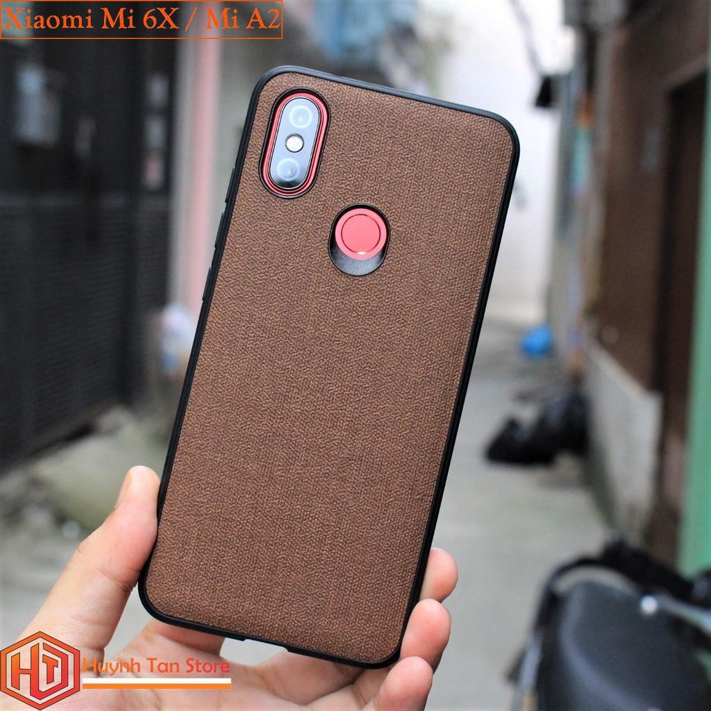 Ốp lưng Xiaomi Mi 6X / MI A2 vân vải jean (màu nâu)