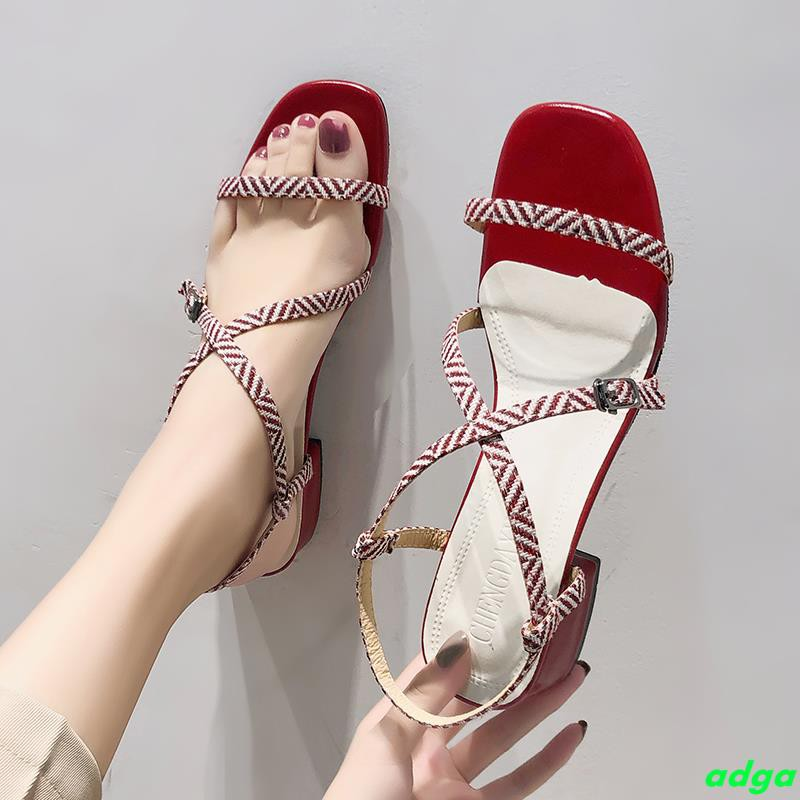 Sandals female students 2019 summer new wild with a thick with fairy wind word with ins tide Roman sandals