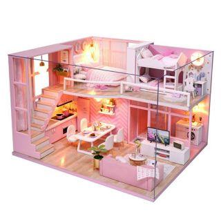 FREESHIP ĐƠN 99K_Mô hình nhà búp bê gỗ – biệt thự màu hồng Dream Angels (có đầy đủ cót nhạc, mica che bụi)