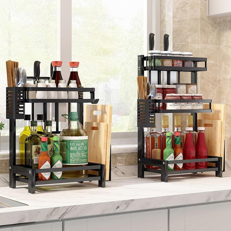Kệ gia vị 2 tầng tiện ích đựng đồ dùng nhà bếp đa năng tiện dụng kèm vát dao bằng inox sơn tĩnh điện cao cấp - V20