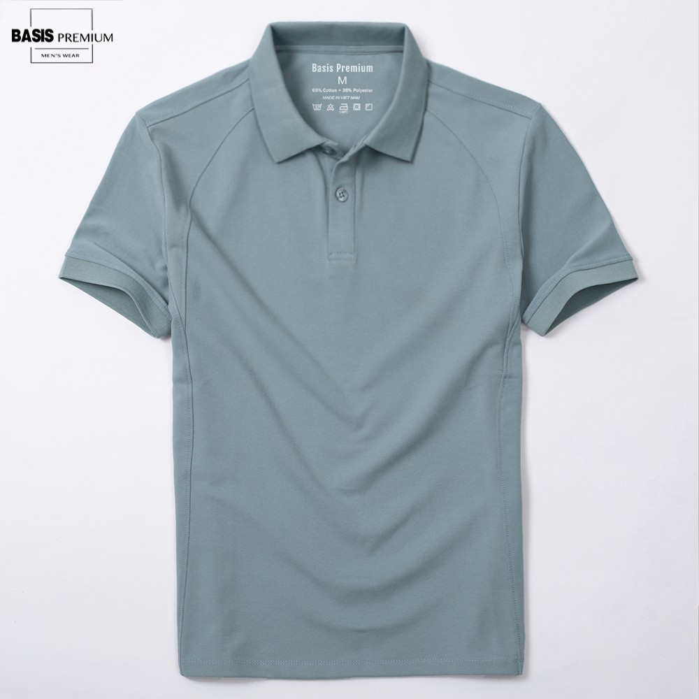 Áo polo nam màu xanh jade họa tiết trơn phối gân dọc đơn giản