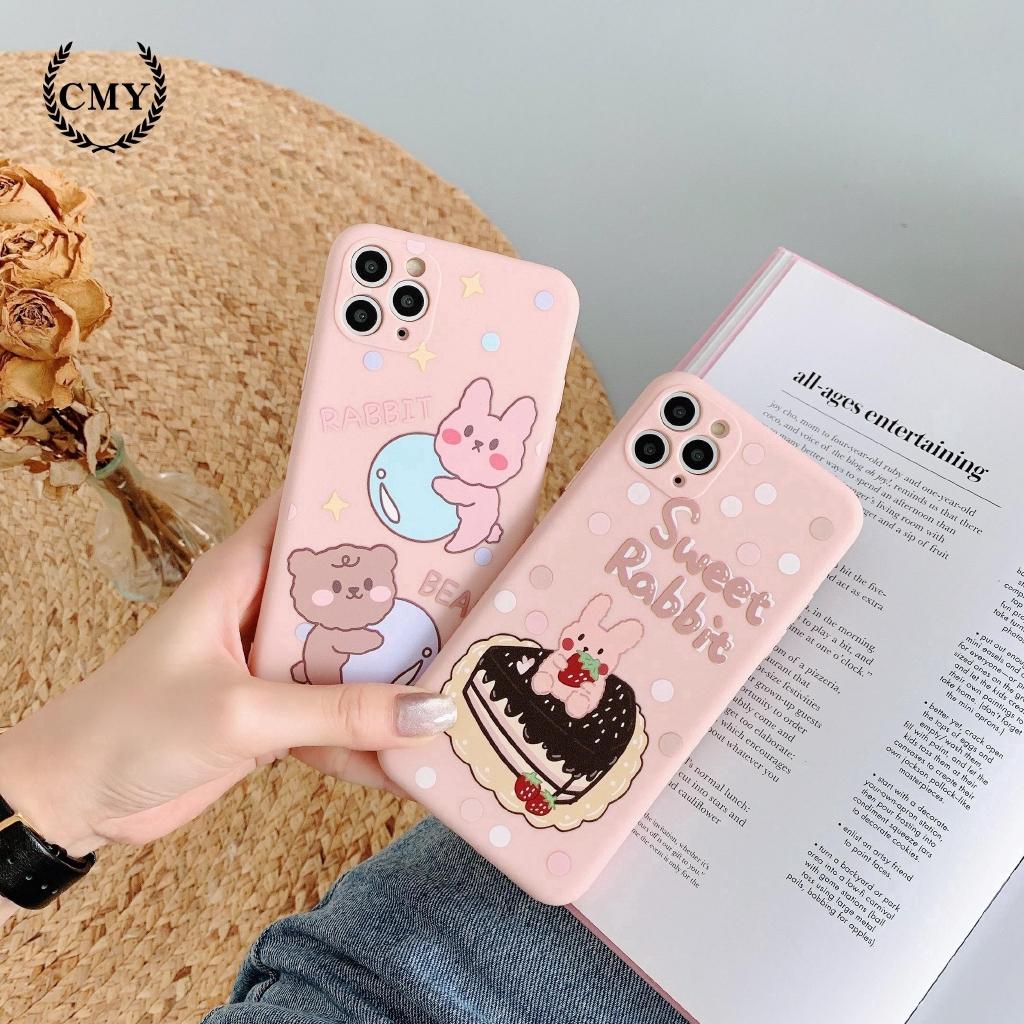 Ốp điện thoại in hình gấu và thỏ hoạt hình dễ thương cho iPhone 11/11Pro 11Pro Max X XR XS XS MAX 7 8 Plus SE
