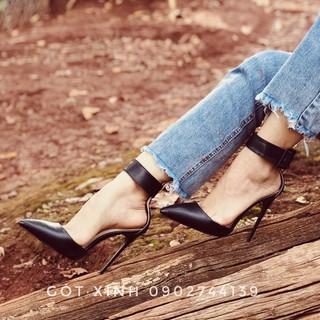 giày cao gót sandal bít mũi quoai bản lớn 11-12p