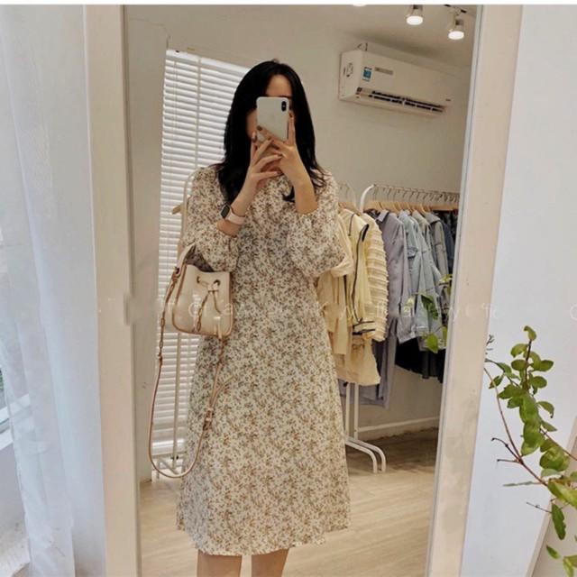 Váy hoa cỏ cổ tròn thời trang Hàn Quốc công sở - Đầm K.er thời trang nữ thiết kế văn phòng dự tiệc dạ hội sinh nhật
