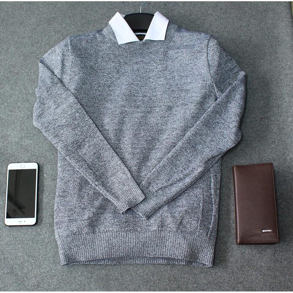 Áo len tiêu nam màu ghi sáng
