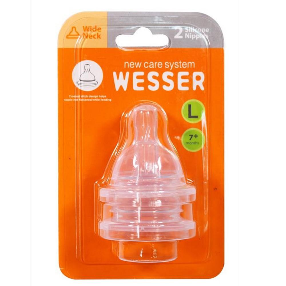Núm vú Wesser cổ rộng chất liệu silicon size S,M,L,+ ( 2 núm vú/hộp)