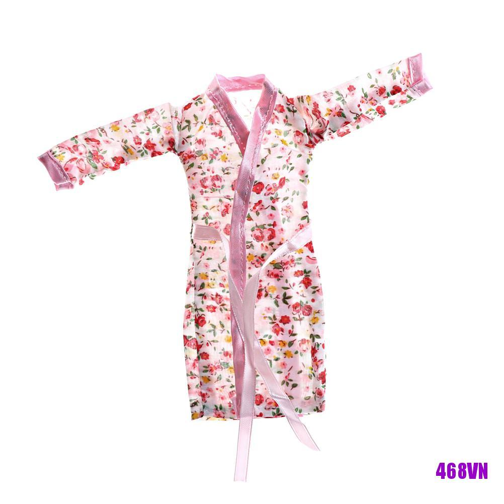 [DOU]Handmade Doll Clothes Flower Printed Pajamas Sleepwear for Doll Accessory