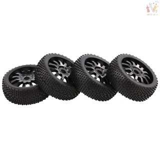 ❤RCC❤4pcs 1/8 110mm Tires with Wheels Rims for HSP HPI Team Losi Tamiya Carson Redcat 1/8 Buggy Off-