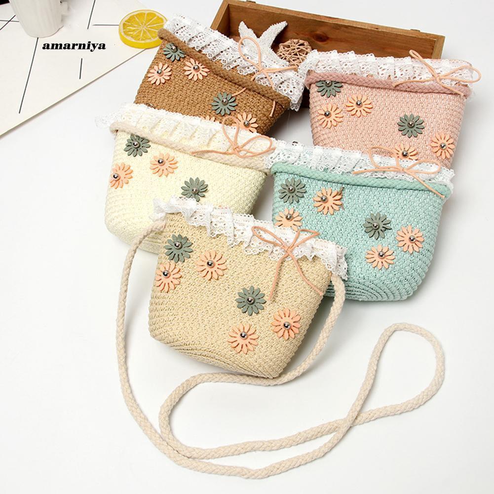 AMA♥Children Girl Mini Lace Flower Bowknot Kids Beach Crossbody Shoulder Straw Bag