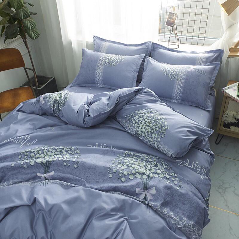 Chăn Ga Gối , cotton poly chăn ga Hàn Quốc đủ màu đủ size miễn phí bo chun mẫu HOA TÍM BABY