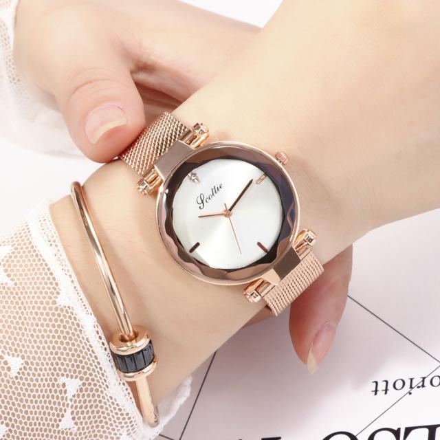 Đồng hồ nữ SCOTTIE dây thép mạ vàng mặt kim tuyến + Tặng pin và hộp