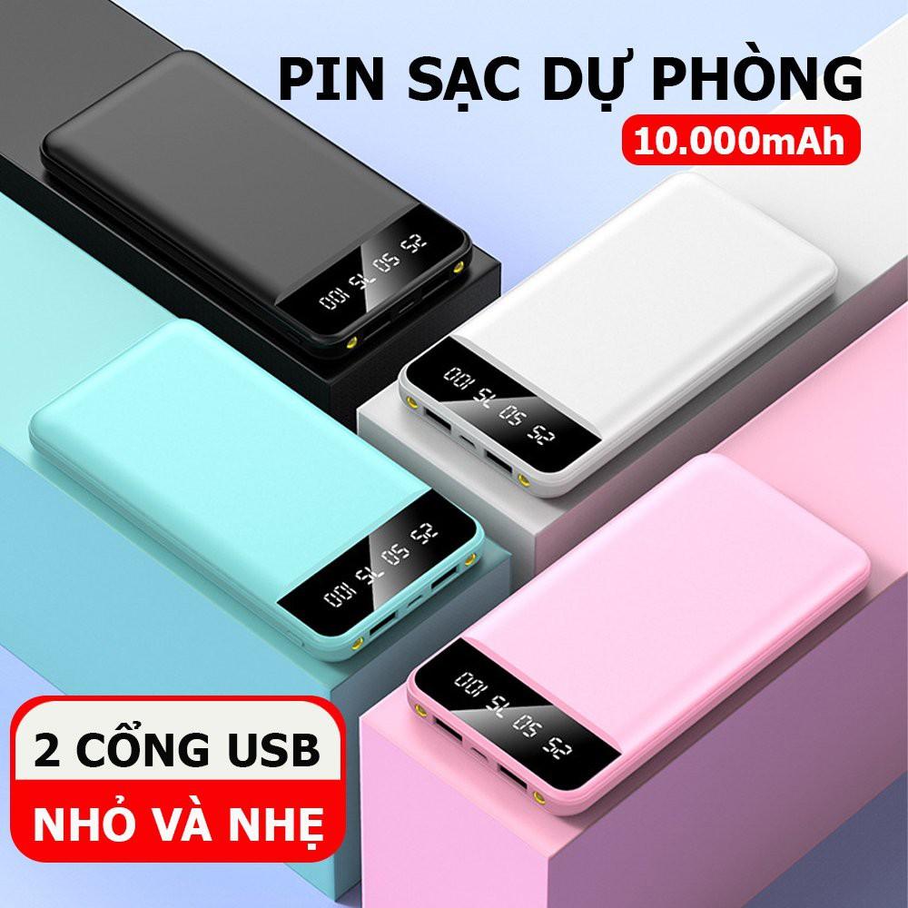 Sạc dự phòng YM-10000 mAh có 2 cổng USB, tích hợp màn hình led hiển thị pin- Bảo hành 6 tháng