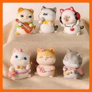 Tượng để bàn xinh mèo béo cute chất liệu đá cao cấp, quà tặng người thân ý nghĩa giúp trang trí bàn, kệ sách đẹp