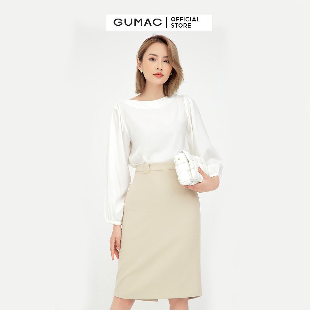 Chân váy suông nữ cơ bản GUMAC dáng chữ A, màu nude đủ size VB5126