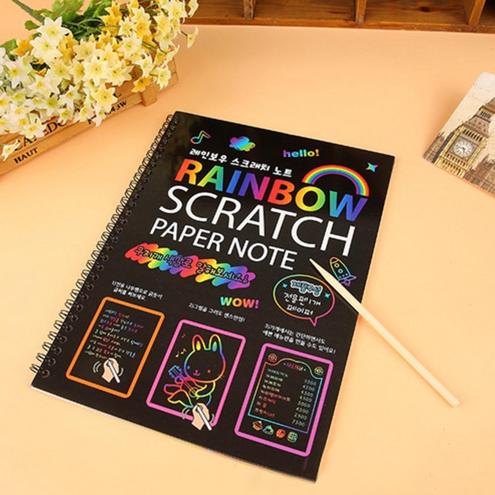 Magic Stationery Kids Graffiti Cute Drawing Painting Notepad DIY Black Page Notebook