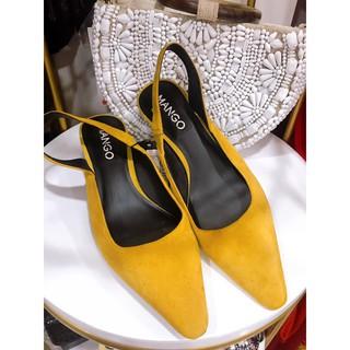 Giày gót vuông Mango auth da lộn màu nghệ sz 36