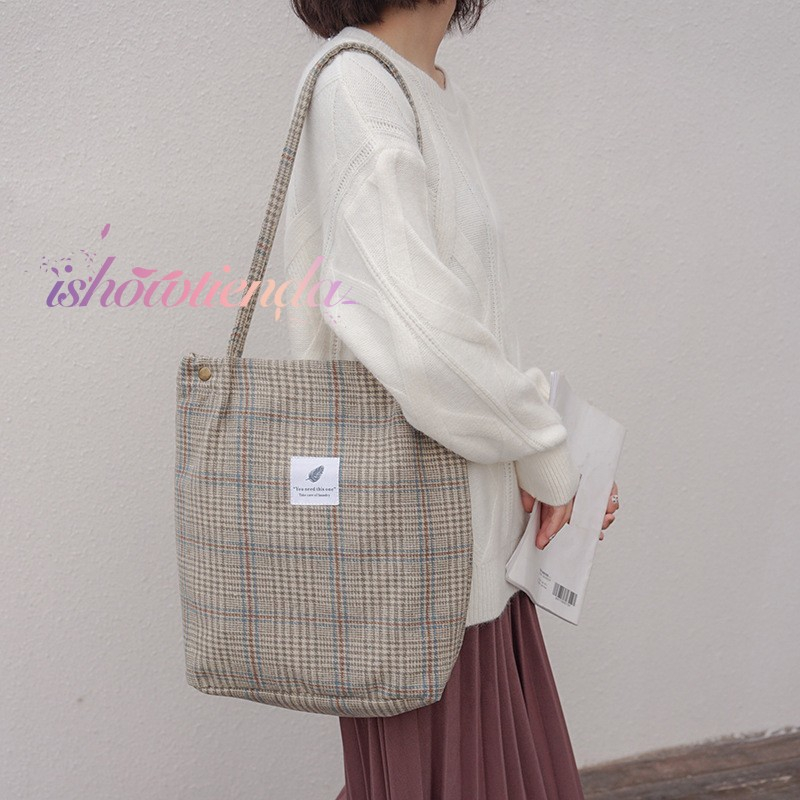 ishow Ready stock Women's Shoulder Bag Wool Plaid Casual Canvas Bag
