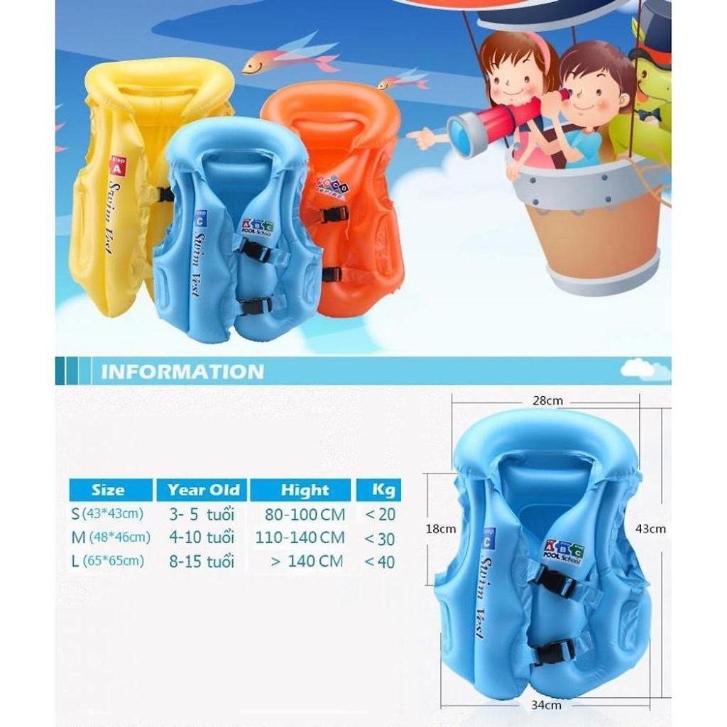 [FOR_KIDS] [HOT] Áo phao bơi trẻ em ABC (bé từ 8-15 tuổi), chất liệu nhựa dẻo PVC an toàn