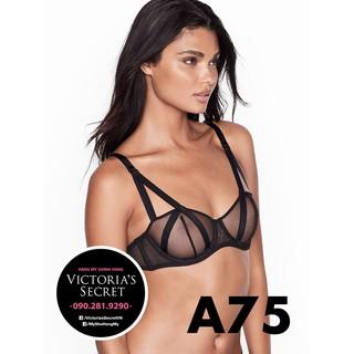 [USA 34A A75] - Áo lưới đen sexy (89) Luxe Lingerie, Black Mesh có gọng, không mút, Victoria s Secre thumbnail