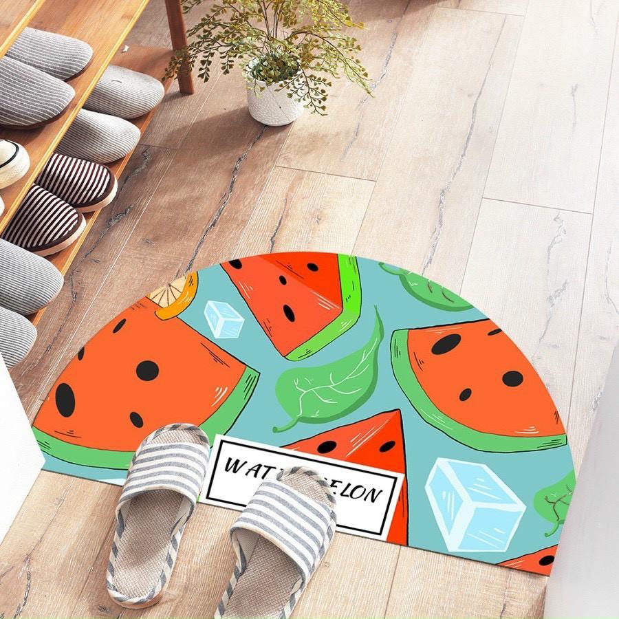 Thảm chân 3D - Thảm Bán Nguyệt - Thảm Lót Lau Chân Cửa Ra Vào Size 80x40cm chất liệu bali