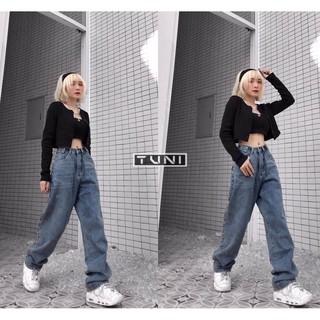 Yêu ThíchQuần Jeans Nữ Simple Jeans Lưng Cao Dáng Suông Ống Rộng Ulzzang ( Màu Đậm )