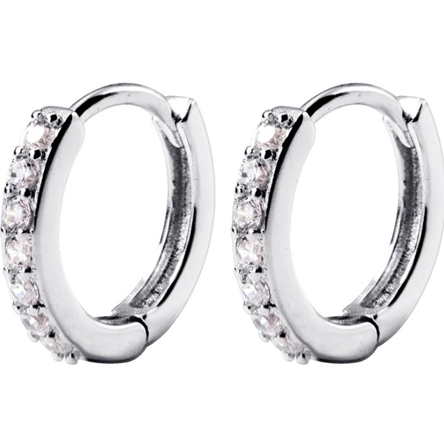 Khuyên Tai Bạc Nữ Tròn Đính Đá Xinh, Khuyên Tai Nhỏ Dành Cho Nữ B2425- Bảo Ngọc Jewelry