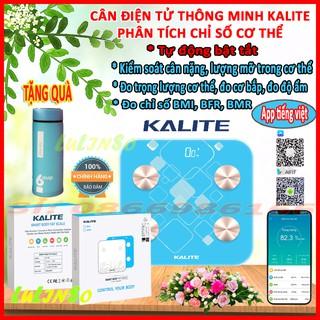 Cân Điện Tử Thông Minh KALITE 150 Kết Nối Bluetooth,Phân Tích Lượng Mỡ Chỉ Số Cơ Thể, Kết Nối App Tiếng Việt, Dễ Sử Dụng
