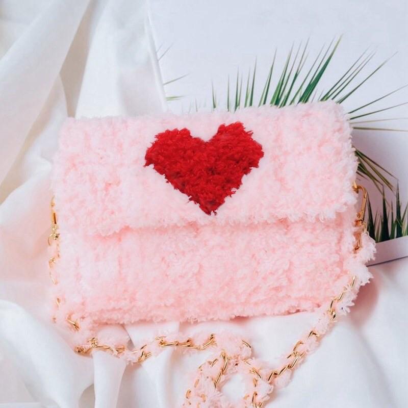 [Có hướng dẫn] Túi tự đan len màu hồng