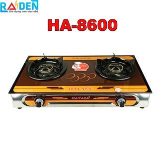 Bếp ga đôi Hayasa HA-8600 đầu đốt đồng, điếu inox, kiềng có vòng chắn gió và cao su chống lan nhiệt