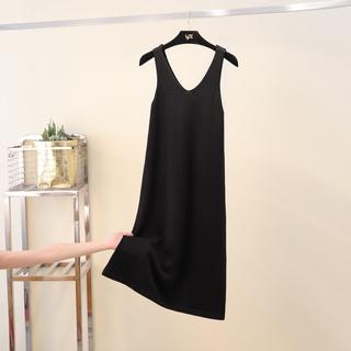 Đầm Dài Qua Gối Không Tay Cổ Chữ V Dáng Rộng Màu Đen Thời Trang Xuân Thu