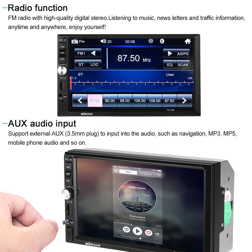 "KKmoon 7"" Universal 2 Din HD BT Car MP5 Radio Player Multimedia Entertainment USB/TF FM Aux Input"