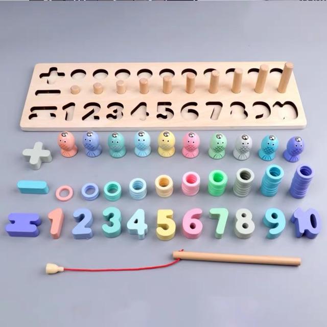 Bộ đồ chơi bằng gỗ 3in1. Đồ chơi giáo dục phát triển trí tuệ