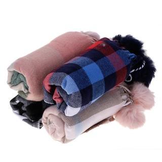 kaka-Children Kids Comfortable Imitation Tartan Plaid Scarf with Fluffy Ball