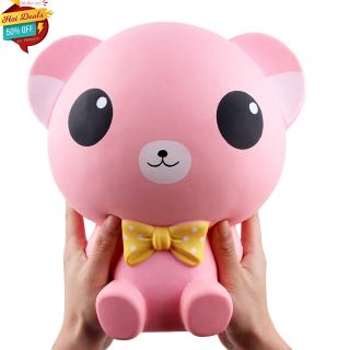25CM Large Cartoon Bear with Bowknot Squishy Toy Photography Prop Decor