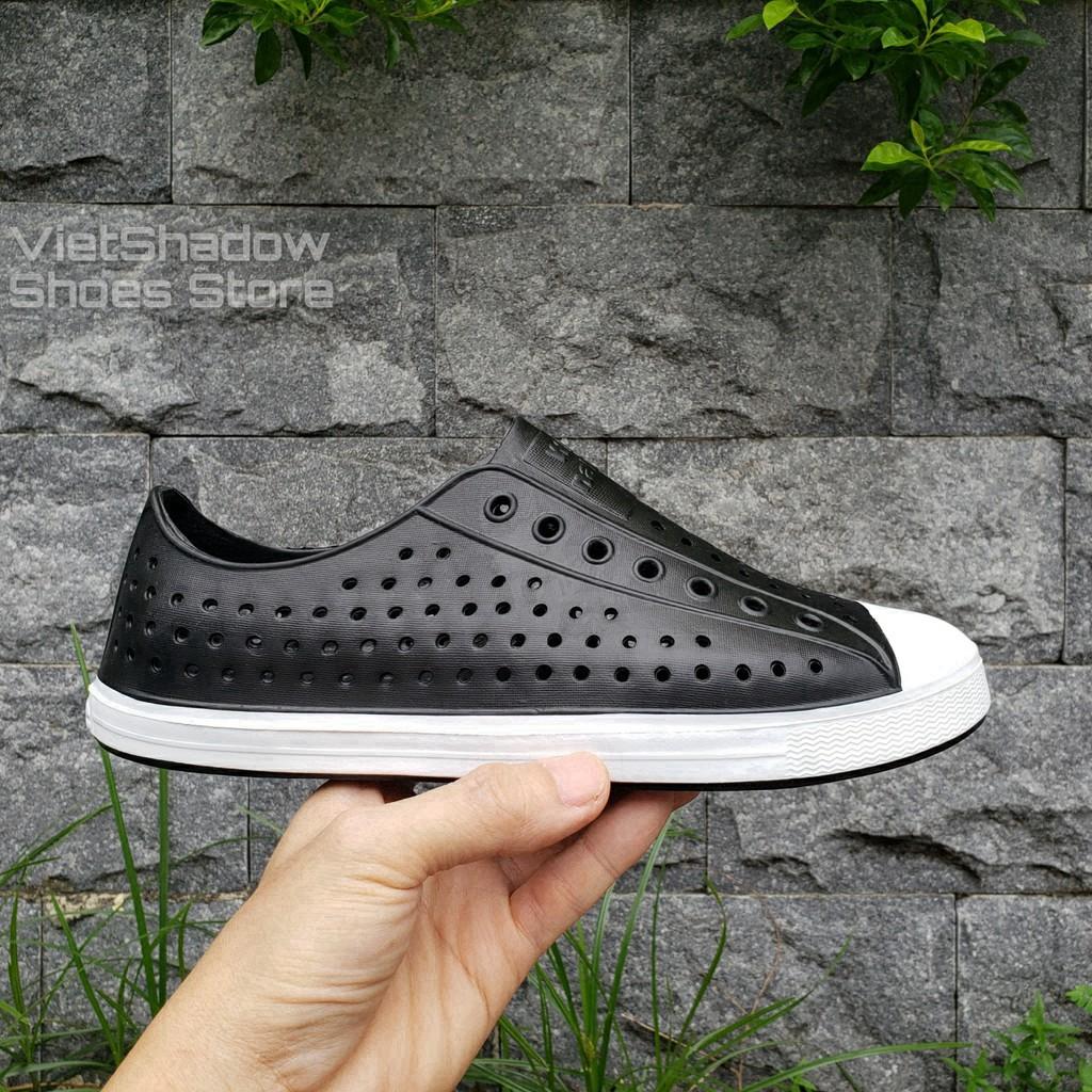 Giày nhựa đi mưa nam nữ - Chất liệu nhựa xốp siêu nhẹ, không thấm nước - Màu đen full và đen viền trắng 7