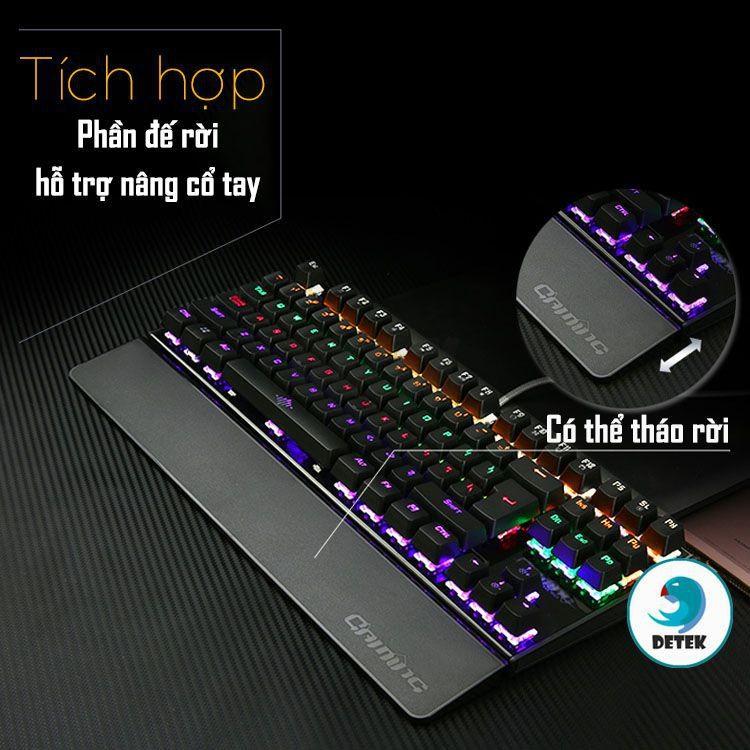 Bàn phím cơ game thủ Detek K28 có đèn LED - thiết kế mới tặng đế kê tay