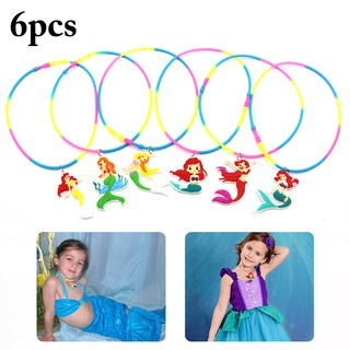 6PCS Christmas Necklace Mermaid Pendant Necklace Party Necklace Party Favors