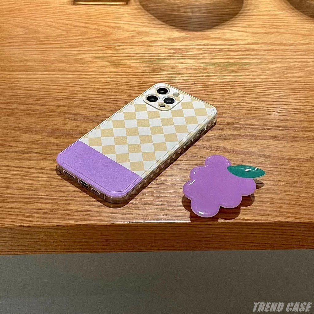 Yellow-Purple Grid Grape Stand Design Mobile Phone Cases for iPhone 12 11 Pro Max XR XS 7PLUS 8 Plus XS...